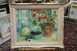 Oil on canvas still life signed P B Mills