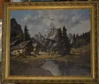 Rudolf Rodel Oil On Canvas Landscape With Figures