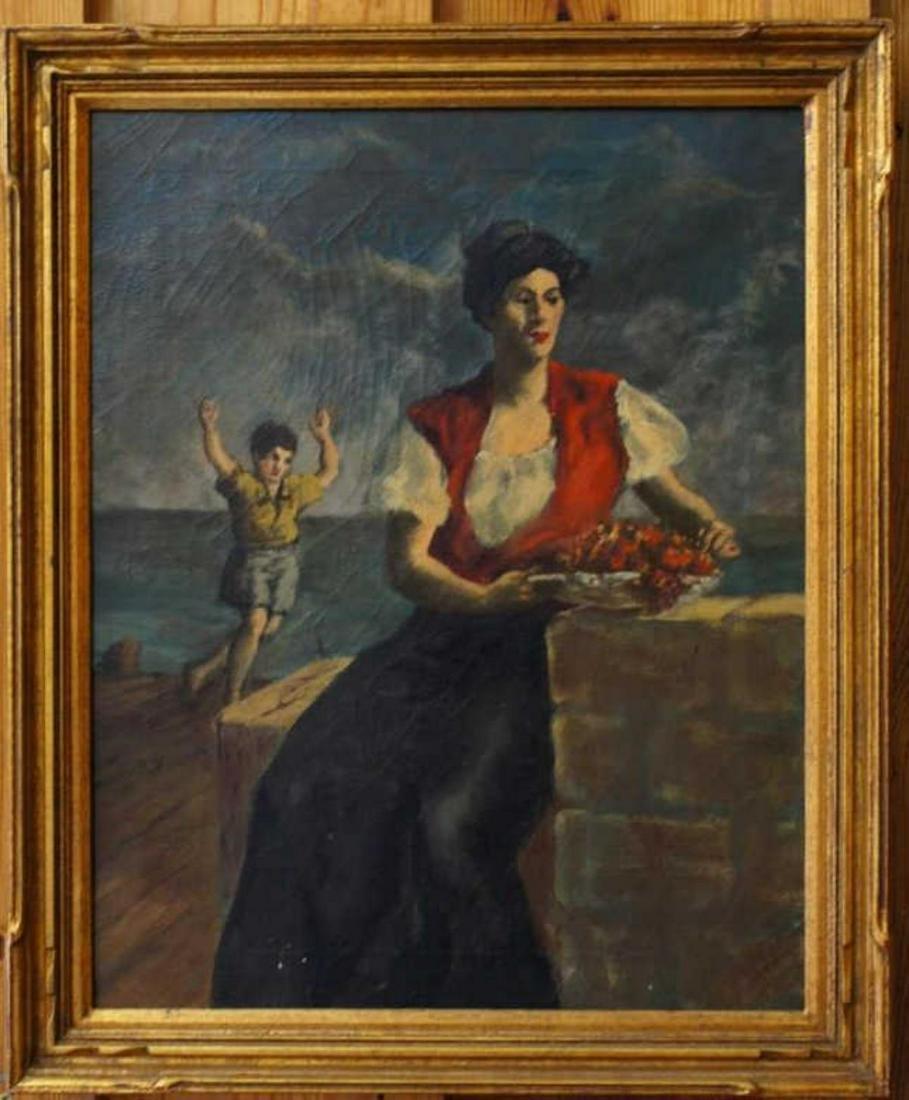 O/C Portrait of a Woman w/ fruit & young boy