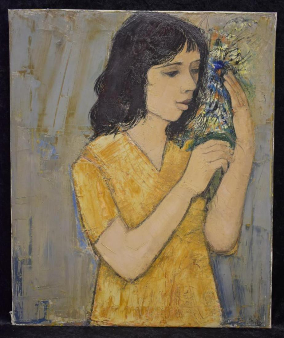 Hubertus Johannes Mengels Girl With Flowers