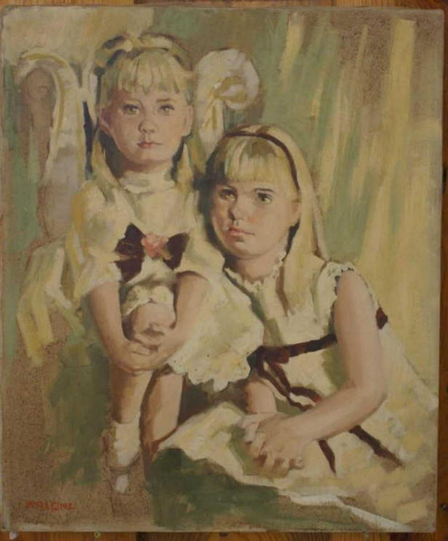 Oil On Canvas Portrait Of 2 Young Girls By Malone