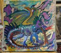Abstract Art On Canvas of dragon by J Gast