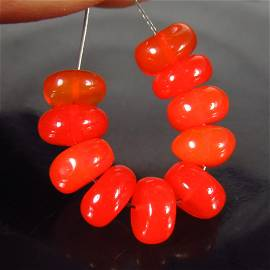 7.15 Ct Natural 10 Drilled Round Orange Fire Opal Beads