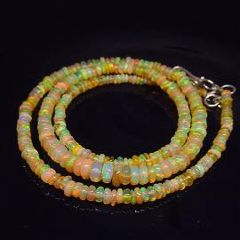 38.01 Ct Natural Opal Beads 925 Silver Necklace