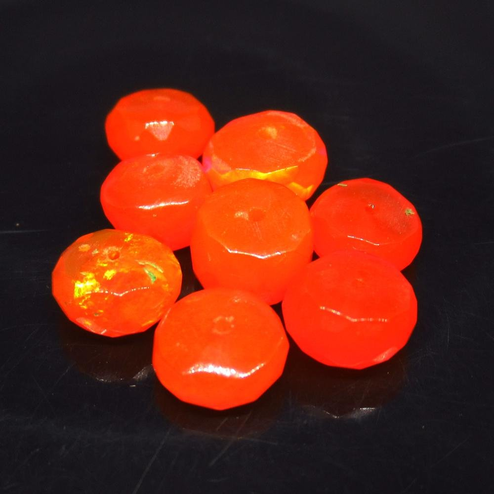 6.46 Ct Natural 7 Drilled Faceted Orange Fire Opal