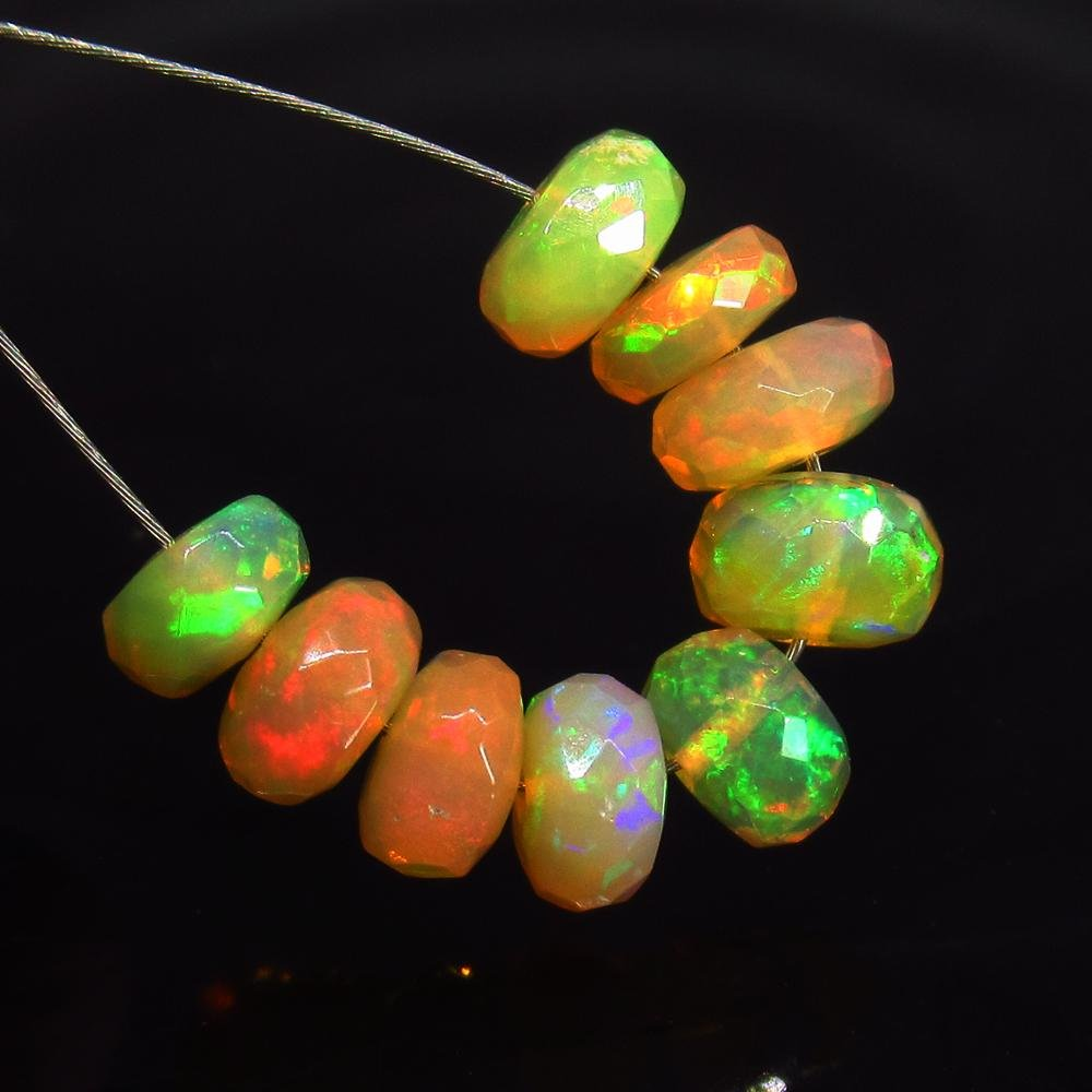 4.33 Ct Natural 9 Drilled Faceted Fire Opal Beads