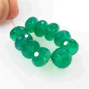 30.31 Ct Natural 10 Drilled Green Onyx Round Beads