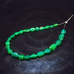 8.01 Ct Natural 24 Drilled Green Fire Opal Beads