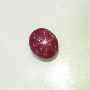 5.61 Ct Natural Six Line Red Star Ruby Oval Cab