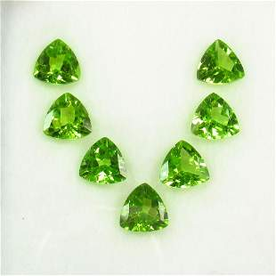 8.17 Ct Natural 7 Pakistan Peridot Trillion Necklace Se