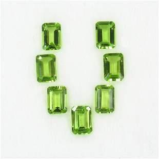 7.46 Ct Natural 7 Pakistan Peridot Octagon Necklace Set