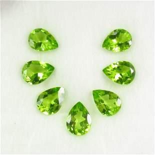 8.48 Ct Natural 7 Pakistan Peridot Pear Necklace Set