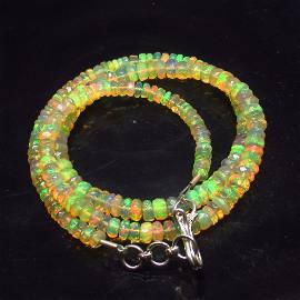 46.44 Ct 925 Silver 185 Multi-Color Opal Beads Necklace
