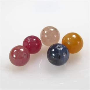 38.37 Ct Natural 5 Drilled Multi-color Sapphire Ball
