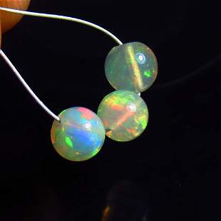 1.92 Ct Natural 3 Drilled Fire Opal Ball Beads