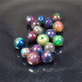 3.99 Ct Natural 17 Drilled  Black Fire Opal Ball Beads