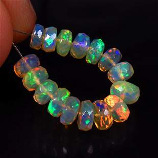 6.28 Ct Natural 16 Drilled Faceted Fire Opal Beads