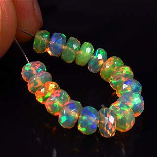 6.87 Ct Natural 17 Drilled Faceted Fire Opal Beads