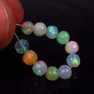 4.48 Ct Natural 11 Drilled Fire Opal Ball Beads