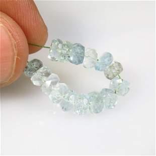 .9.85 Ct Natural 15 Drilled Aquamarine Beads
