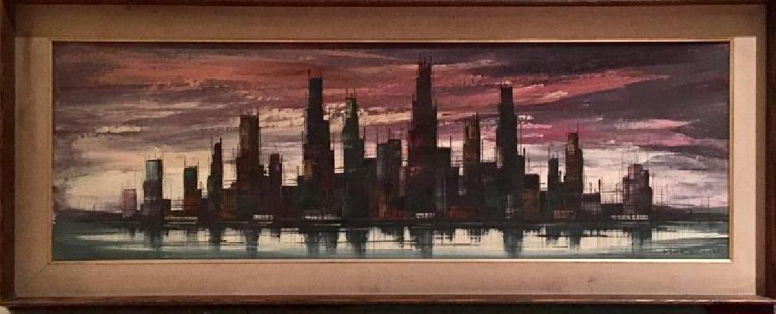 Mid Century Modernist Abstract Cityscape Painting Oil