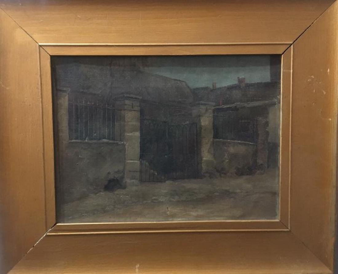 Antique Oil Painting Landscape In Antique Frame