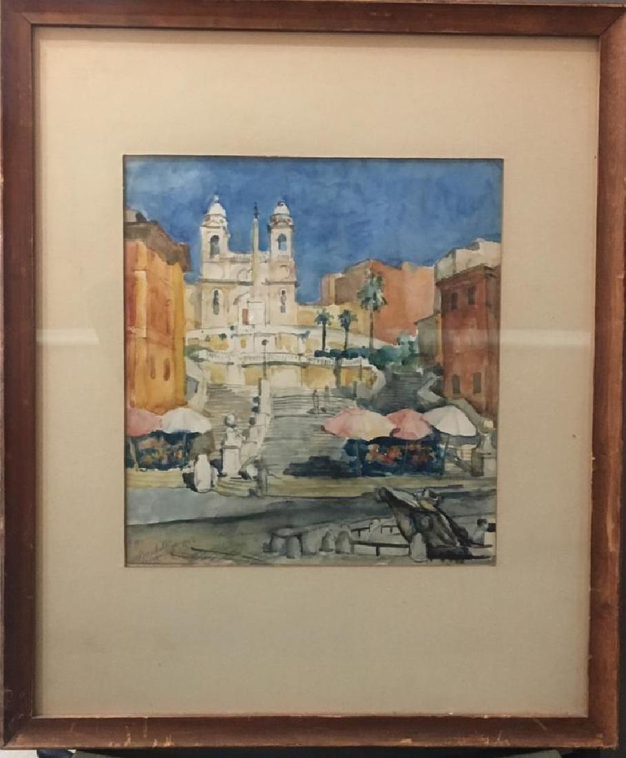 1942 Signed Watercolor Landscape/Cityscape