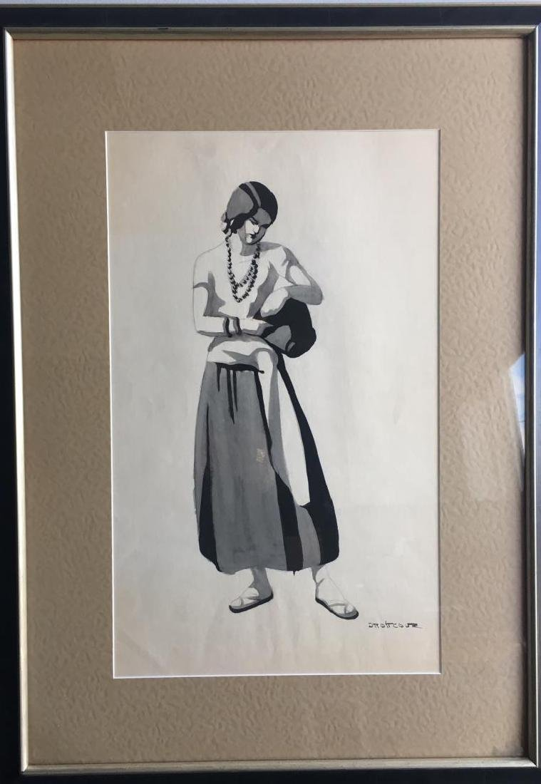 Signed Watercolor and Ink Drawing of a Female Figure