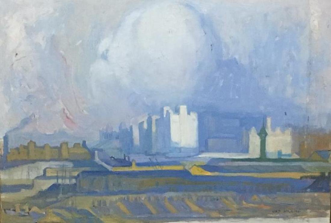 1911 Abstract Landscape Cityscape Signed EUJ 1911 Oil