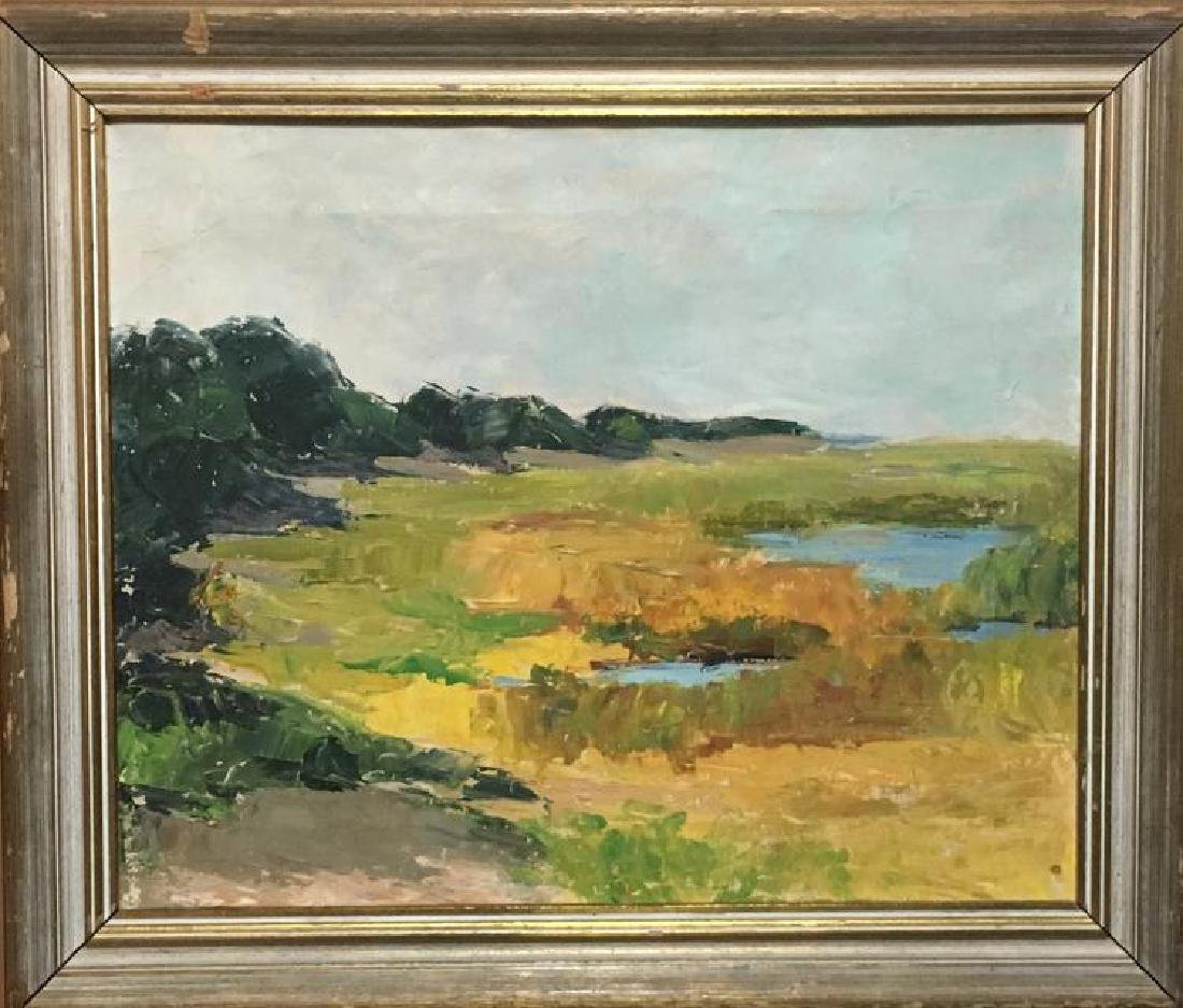 Unsigned Antique Abstract Oil Painting Landscape in a