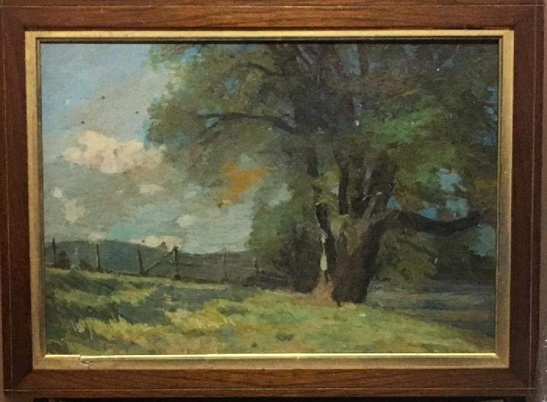 Antique Oil on Board Landscape Painting Unsigned