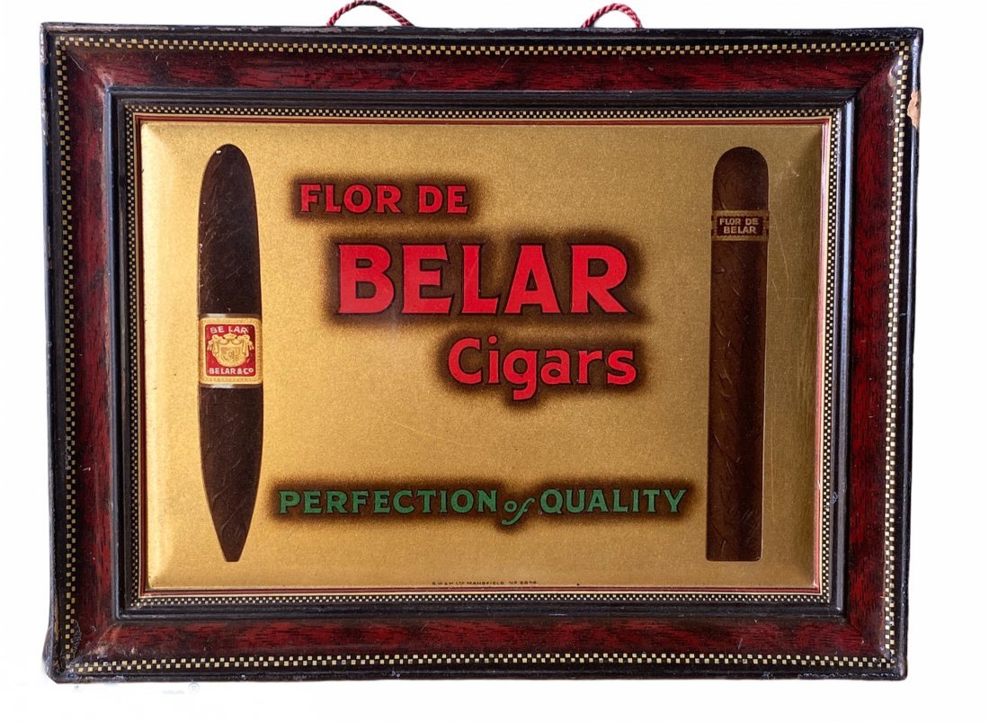 1920s Tin Litho Cigar Tobacco Store Counter Top Sign