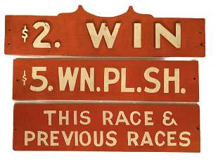 Lot of 3 Hand Painted Race Track Signs