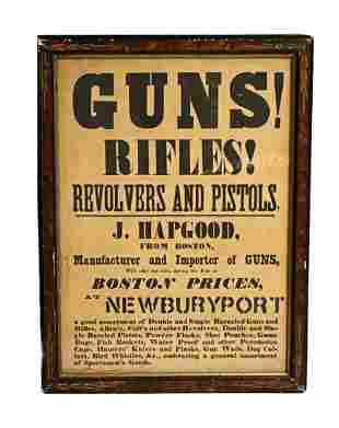 Guns, Rifles Advertising Broadside in Old Frame