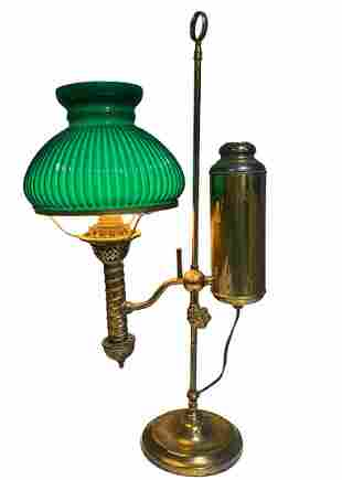 Antique Electrified Brass Student Lamp Green Glass