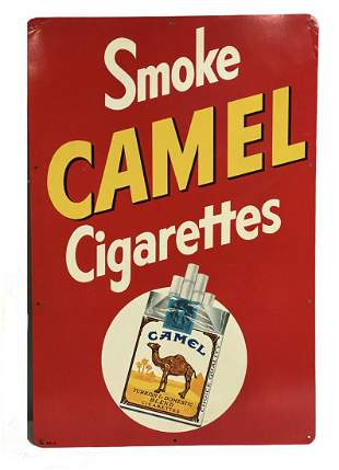 Smoke Camel Cigarettes Tin Litho Advertising Sign