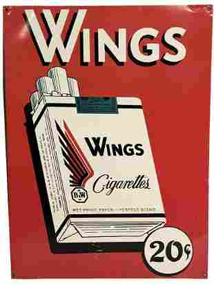 Wings 20 Cent Cigarette Tin Litho Advertising Sign