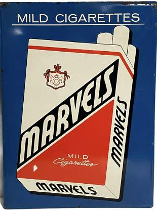 Marvels Mild Cigarettes Tin Litho Advertising Sign