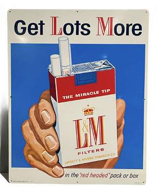 Get Lots More LM Cigarette Tin Litho Advertising Sign