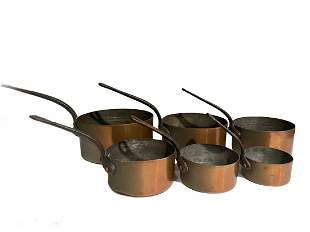 Set of 6 Antique French Graduated Copper Pans
