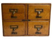 Oak 4 Drawer Card Catalog File Cabinet Raised Panels