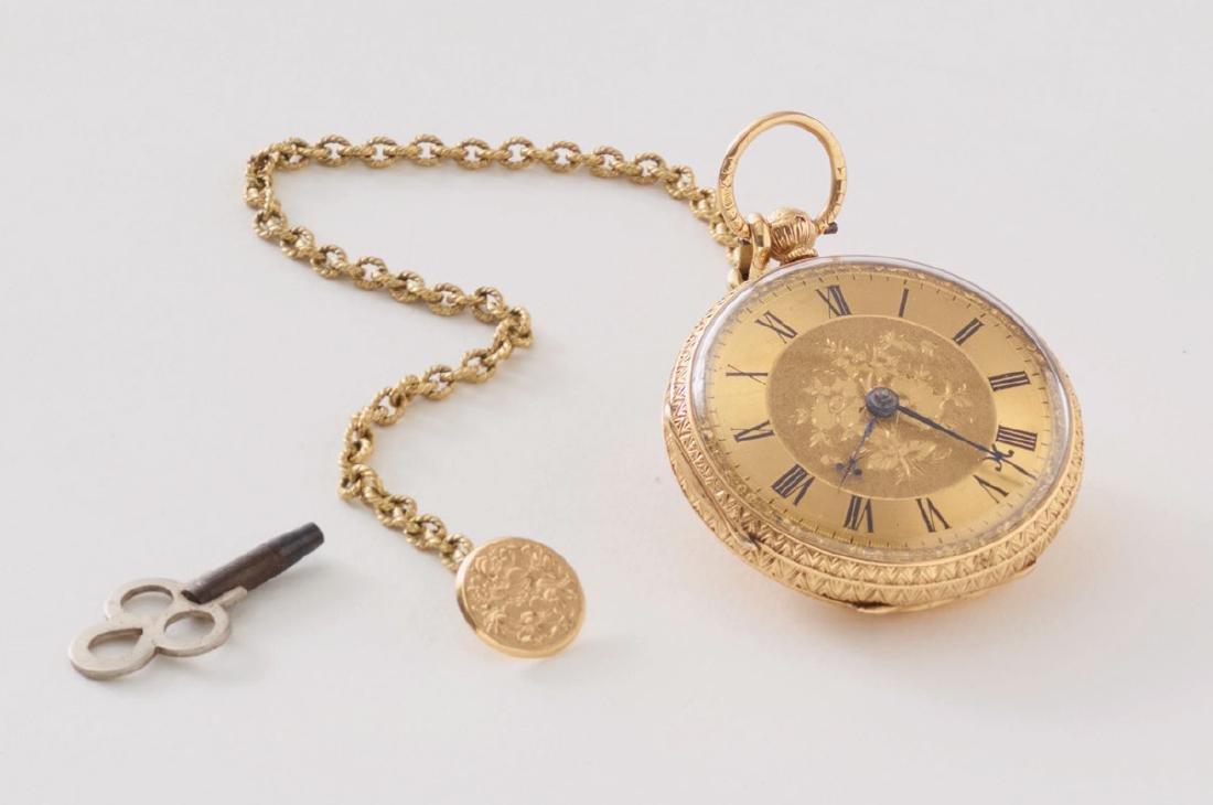England, Taschenuhr/ Spindeluhr 18K Gold