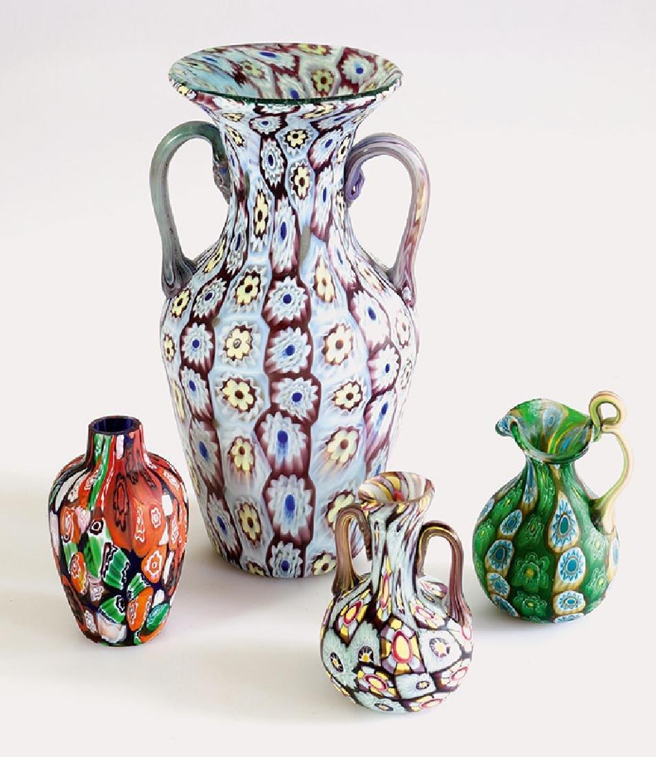 4 Vases Millefiori Toso