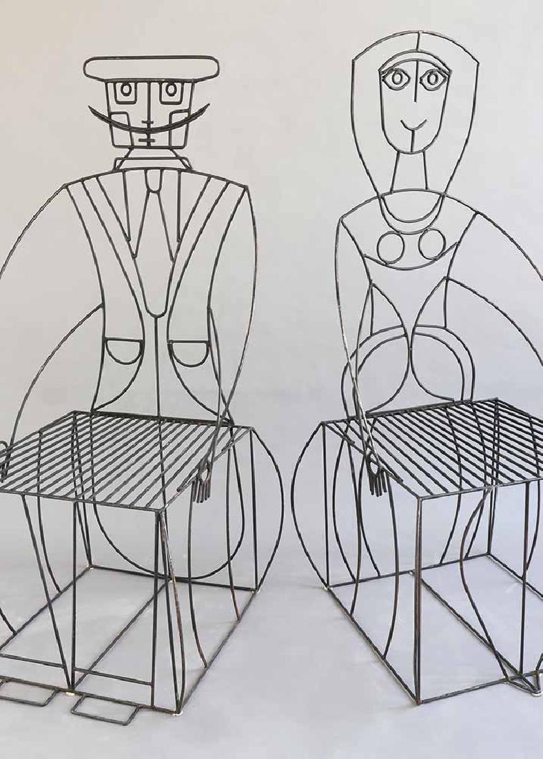 John Risley, 2 figural Wire Chairs