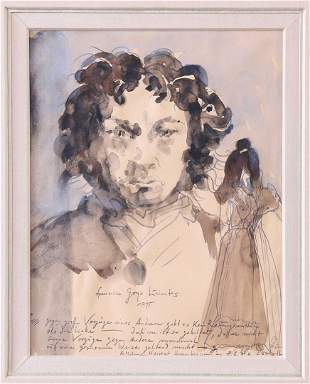 Horst Janssen, Goya, Drawing/ Aquarell