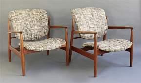 Finn Juhl Pair Easy Chairs Mod. FD 136
