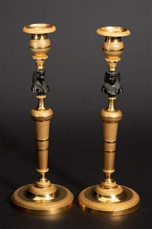 2 Empire candlesticks in egyptian style