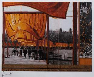 Christo*, The Gates, Lithography, fabric sample and 2