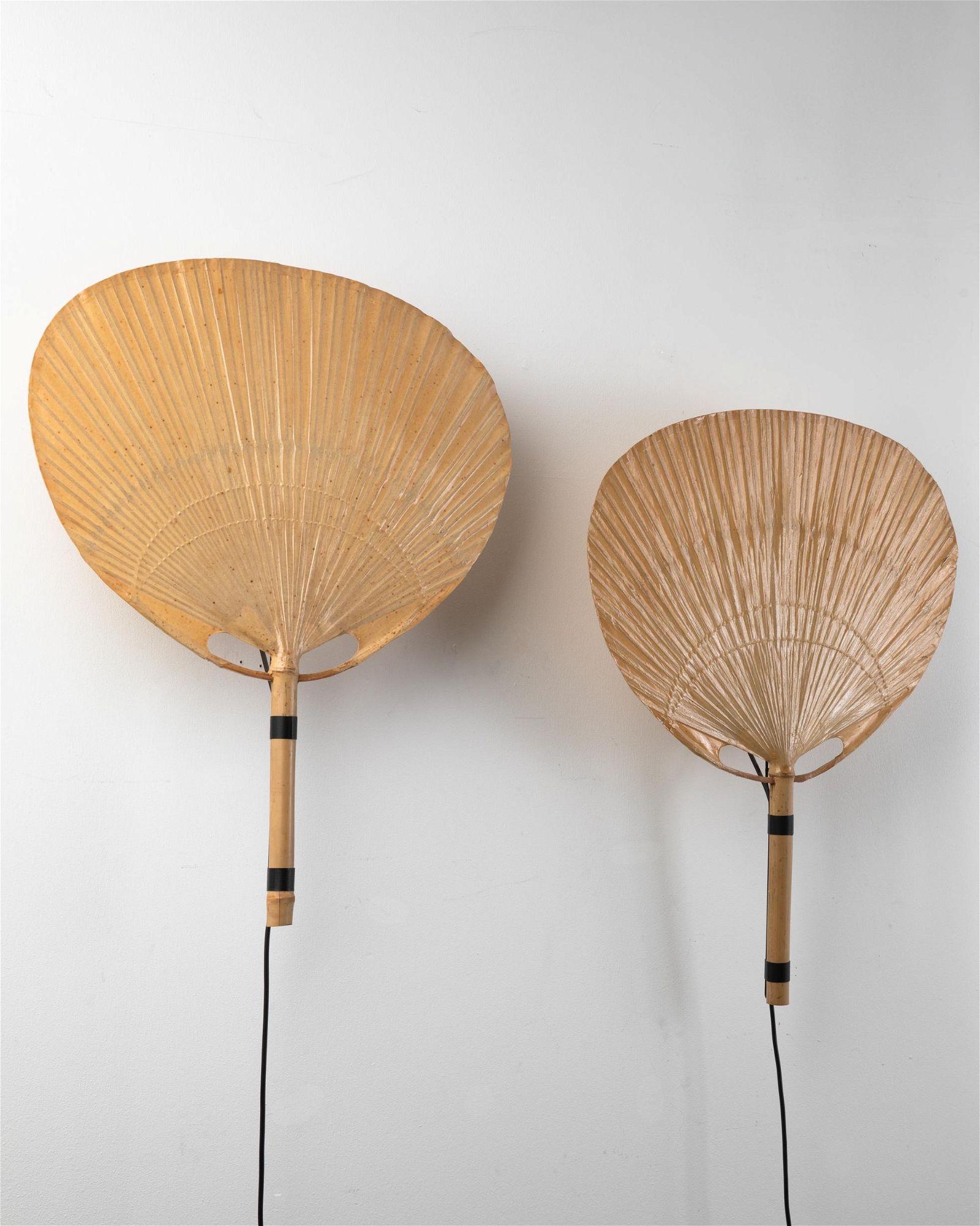 Ingo Maurer, Design M, 2 Wall Lamps Uchiwa