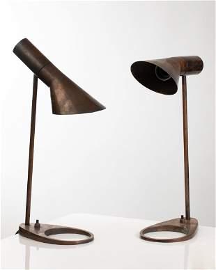 A. Jacobsen L. Poulsen 2 copper Table Lamps AJ Visor